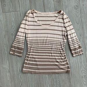 New York & Company Brown + Tan 3/4 sleeve Shirt